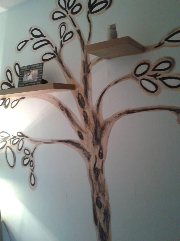 handpainted tree,floating shelves.