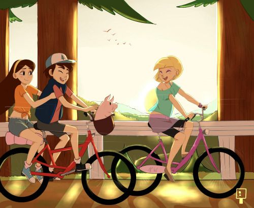Mabel, Dipper, and Pacifica hanging out and riding bikes.  (art by champignonvermillon on tumblr)