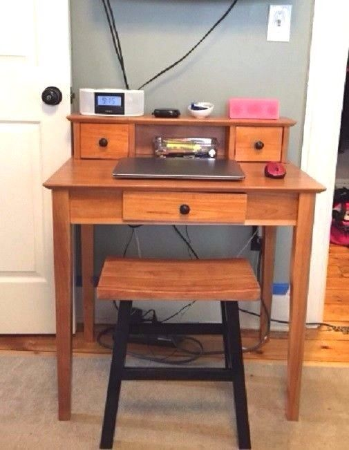 Small Writing Desk With Hutch Storage Drawers Solid Wood Honey Home