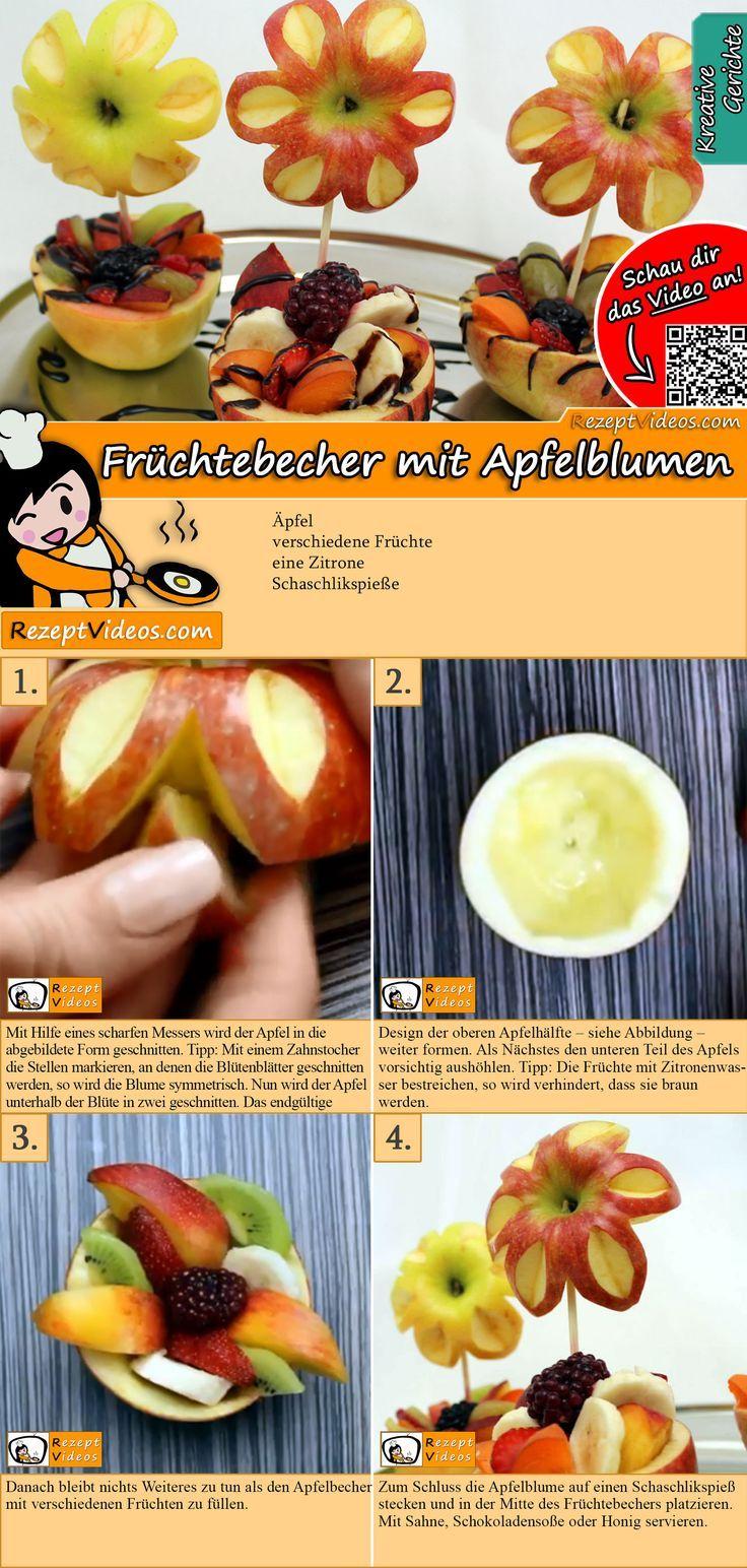 Früchtebecher mit Apfelblumen – #Apfelblumen #Früchtebecher #mit