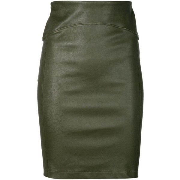 Getting Back To Square One leather pencil skirt (€660) ❤ liked on Polyvore featuring skirts, bottoms, faldas, leather, green, leather pencil skirt, genuine leather skirt, real leather skirt, green leather skirt and pencil skirts