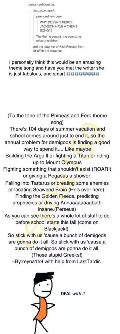 "Instead of demigods are gonna do it all, it should be ""Perseus (It's Percy!!) is gonna do it all!"