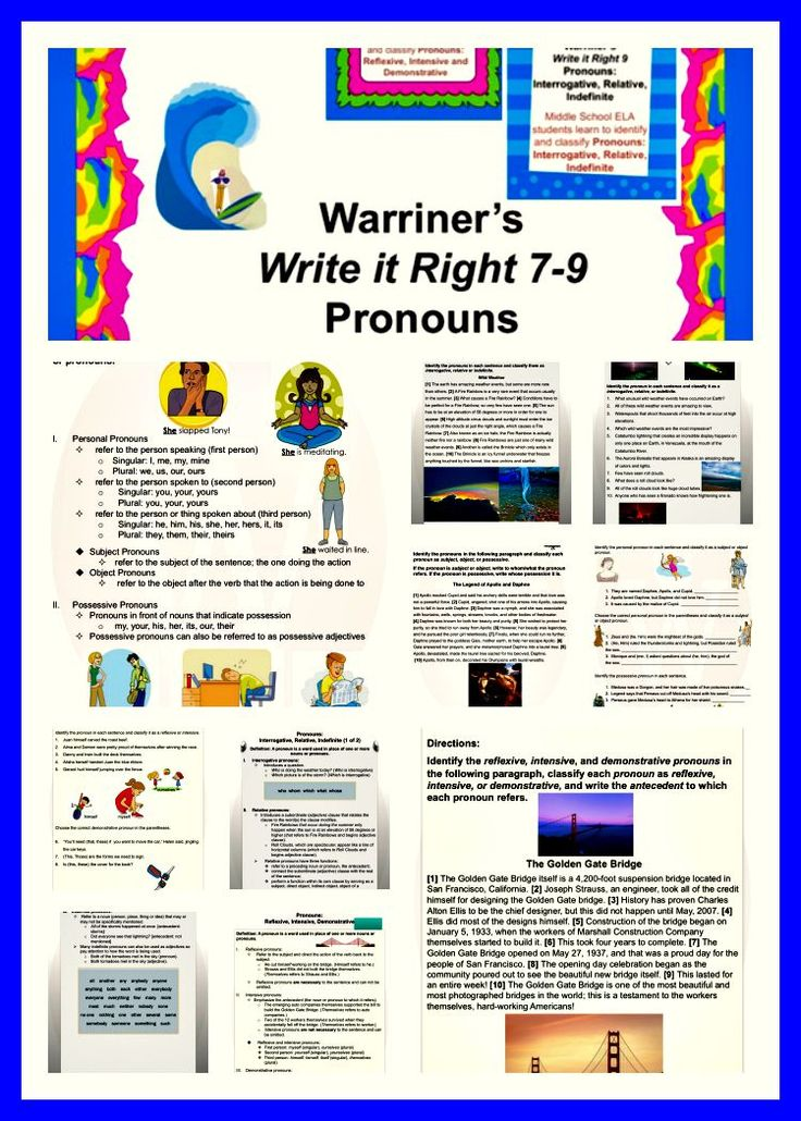 Warriner's Write it Right 7-9: Pronouns for Middle School ELA students. Contains Activities, Handouts, and Rubrics for Write it Right 7, 8 and 9!