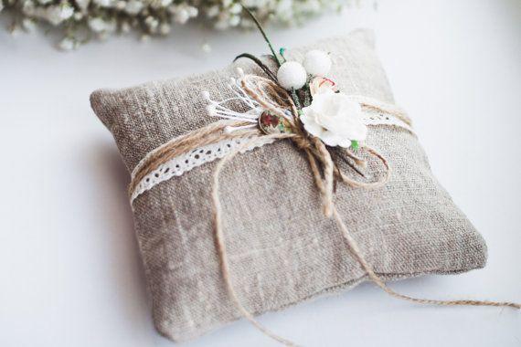 Rustic eco natural boho mori wedding pillow by Weddmarket on Etsy, $27.00