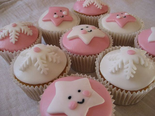 Sweet Cupcakes for Baby Girl Winter or Holiday Theme Shower