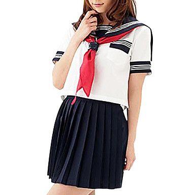 χαριτωμένο κορίτσι μελάνι μπλε και λευκά κοστούμια ναύτης πολυεστέρα (2 τεμάχια) – EUR € 45.45