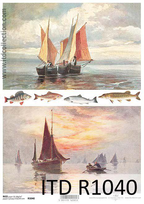 Papier ryżowy, Łodzie, ryby, A4 [ITD-R1040] KreatywnyŚwiat.pl