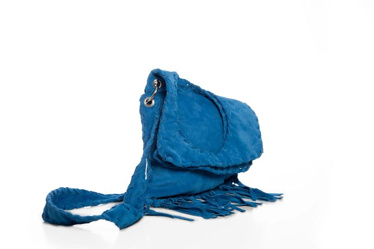 Suede Geometric Bag with fringe in blue color
