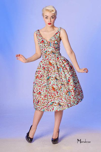 Judy retro frock by Vanity Project, featuring a lovely songbird print