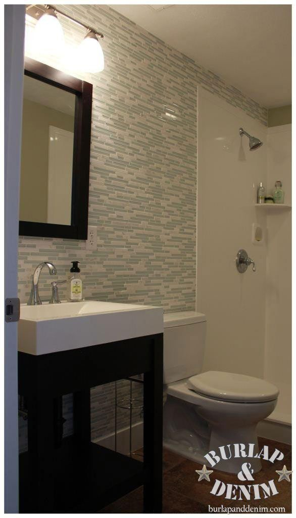 Glass and Marble Tile Bathroom Accent Wall | Bathrooms