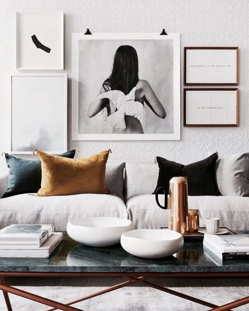 Living Room Brown Couch Minimalist Picture 2018