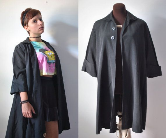 Vintage 1940s 40s forties black waterproof trench by APetiteFlower