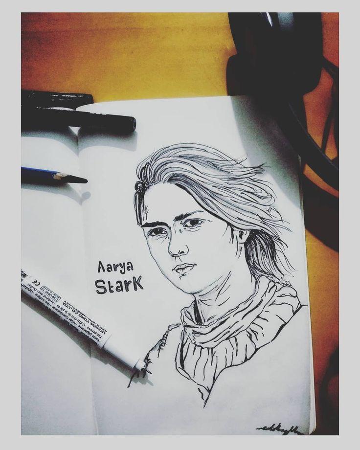 """Valar Morghulis."" All men must die  #aaryastark #got #gameofthrones #pencildrawing #sketchbook #sketch #music #photography #handdrawing #art #shades #maisewilliams #hbo #series"