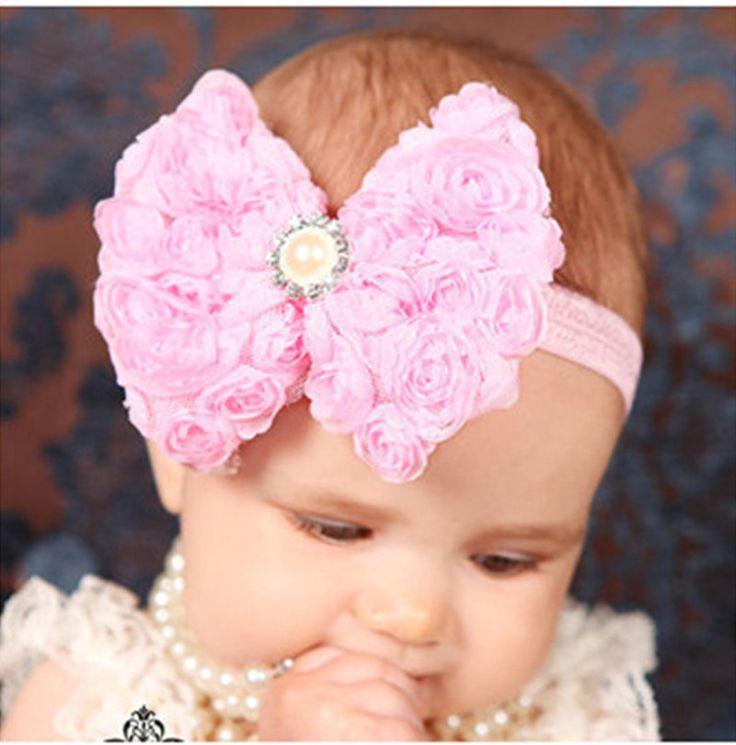 12 Clrs Fashion anak-anak anak-anak Bayi perempuan Pearl & 2-layer Rose Bunga Ikatan Simpul Headband Headwear Hair Band Kepala Sepotong Aksesoris