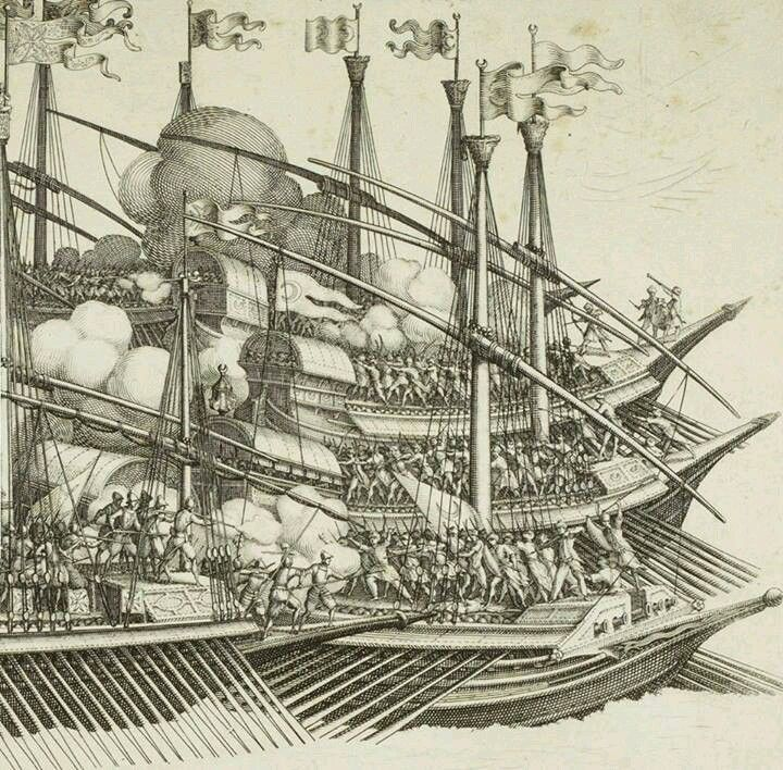 16th century Ottoman warships involved in a naval battle.  Detail of 'Victory of the Ottoman Navy led by Barbarossa against Allied European Navies led by Andrea Doria in Preveza', 28 September 1538.