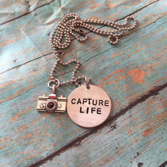 Capture Life Hand Stamped Pendant Charm Necklace by NameItAlready