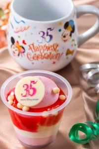 Strawberry Dessert with Souvenir Cup Tomorrowland Terrace (Tokyo Disneyland) Mama Biscotti's Bakery (Tokyo DisneySea) for the 35th Anniversary starting on April 10, 2018.