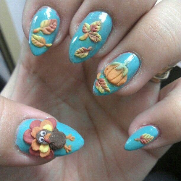 am showcasing cute & easy Thanksgiving nail art of designs & ideas. Apply  bunnies, sunflowers and Thanksgiving birds on nails. - 201 Best Thanksgiving Nail Art Images On Pinterest Fall Nail Art