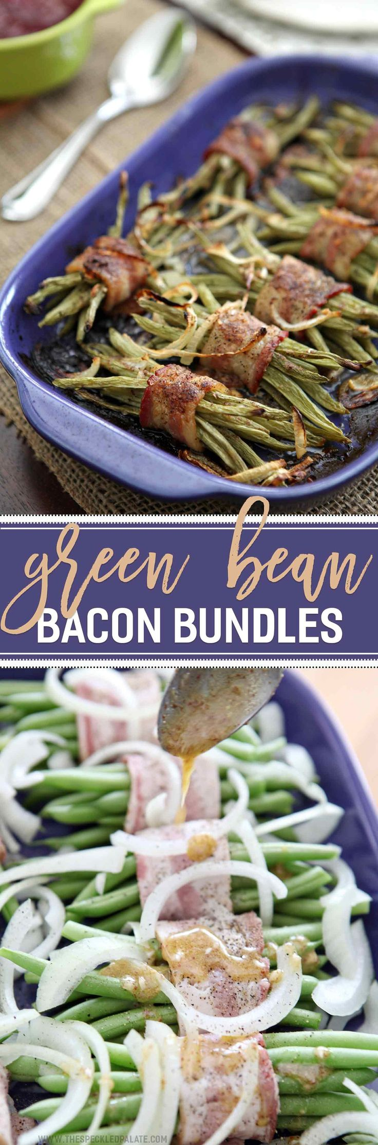 Green Bean Bacon Bundles make the BEST fresh holiday side dish! Wrap small bundles of fresh green beans in strip of bacon. Whip up a homemade mustard vinaigrette, then brush the green bean bundles with the vinaigrette. Bake this side dish until the bacon has cooked through. These Green Bean Bacon Bundles are sure to be a winner at this year's Thanksgiving or Christmas table!