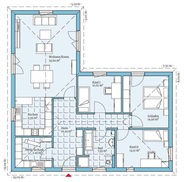 Fertigteilhaus bungalow grundriss  Die besten 25+ Winkelbungalow Ideen auf Pinterest | Winkelbungalow ...