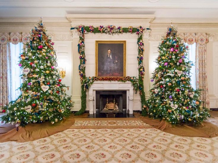 The State Dining Room Features Two 14 Foot Tall Christmas Trees On Either Side