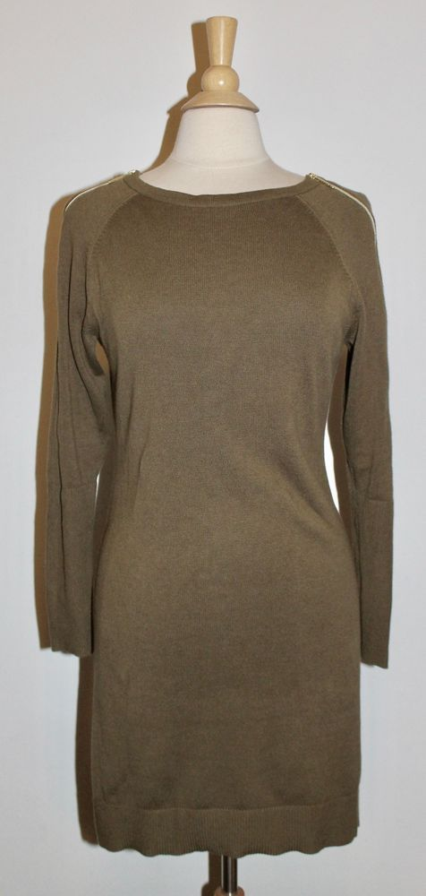 Michael Kors Olive/Army Green Casual Long Sleeve Sweater Dress Size S Small EUC #MichaelKors #SweaterDress #Casual