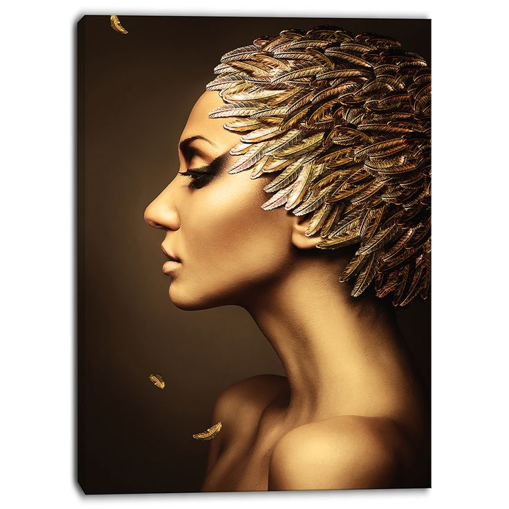 Designart - Woman with Gold Feather Hat - Contemporary Canvas Art Print