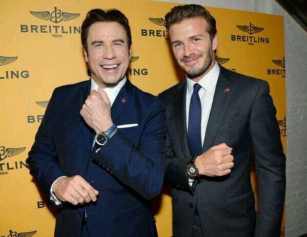Breitling ambassadors John Travolta (2005) and David Beckham (2012)