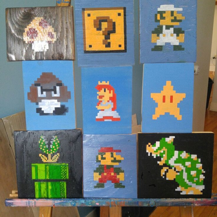 Kids room decor reclaimed wood Nintendo signs.