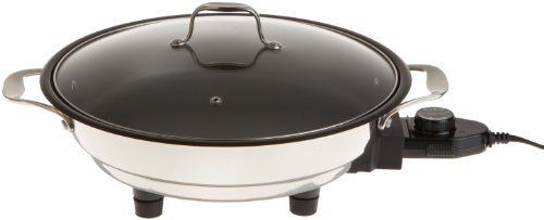 """Electric Skillet Tempered Glass Lid Professional Grade Non-stick Cooker Body 12"""" #CucinaPro"""