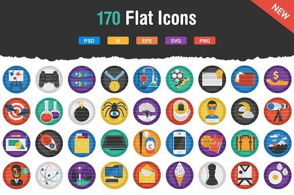 Flatistic - 170 Trendy Flat Icons by Flat Icons on @creativemarket