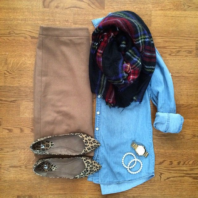 Chambray Shirt, Camel Pencil Skirt, Plaid Blanket Scarf, Leopard Flats | #workwear #officestyle #liketkit | www.liketk.it/13rrs | IG: @whitecoatwardrobe