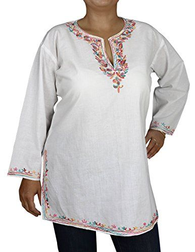 Pastel Embroidered Top Tunic Women White Summer Dresses Casual Cotton Size L ShalinIndia http://www.amazon.in/dp/B00L235NQU/ref=cm_sw_r_pi_dp_Nco0tb0C3EAFZGA2