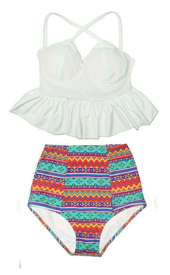 White Long Peplum Top and Black Aztec Tribal Tribute High waist waisted Shorts Bottom Swimsuit Swimwear Bikini set Bathing suit Bathsuit S M