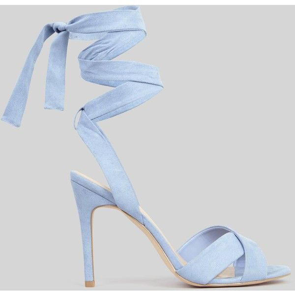 New Look Pale Blue Suedette Tie Up Heeled Sandals ($32) ❤ liked on Polyvore featuring shoes, sandals, pale blue, stiletto sandals, cross strap sandals, new look sandals, stiletto high heel shoes and stiletto shoes
