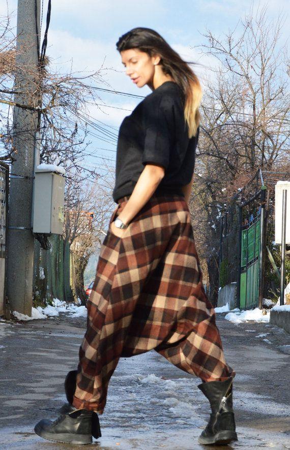 Wool Drop Crotch Harem Pants Oversize Maxi Pants Extravagant