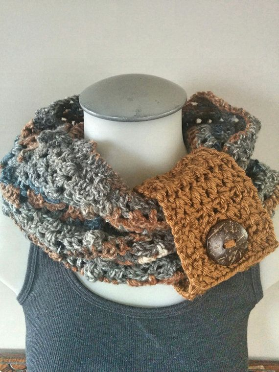 Crochet Cowl Blue Infinity Scarf Brown Cowl by TillysCozyHooks #crochetcowl#knittedcowl#cozycowl #uniquecowl#winterfashion#winterstyle #winterfashion#wintermusthave#infinityscarf #infinitycowl#infinityscarves#ladiesfashion #ladiesscarves#ladiescowl#womensscarves #womenscowl#forher #neutralcowl