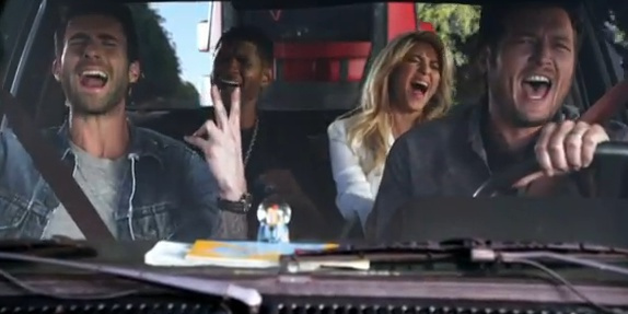 With season three of NBC's The Voice having wrapped last night, the coaches are already revving up for the next season. In a new promo for the spring 2013 season, show veterans Blake Shelton and Adam Levine give coach newbies Shakira and Usher a lift. See the video and read the full story here: www.examiner.com/article/shakira-and-usher-join-blake-shelton-and-adam-levine-the-voice-promo