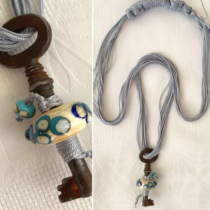 glass bead antique key necklace