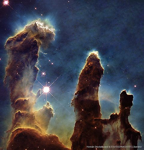 The Eagle Nebula. It measures 70 light years x 55 light years, light travels at an incredible 186,000 miles per second, you do the maths. It's mind blowing, then think that it's just one tiny part of our galaxy which in turn is one very tiny part of our universe..... Feeling generous? Give us a like on Facebook :) https://www.facebook.com/bewilderbugspage