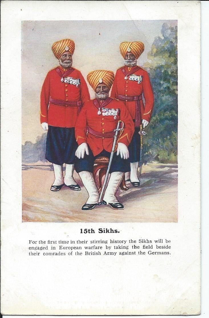 15th Sikhs Ww1 Postcard World War One Soldiers Army Army