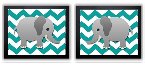Grey Chevron Grey Turquoise Elephant Nursery Art by KidsNurseryArt, $2.40
