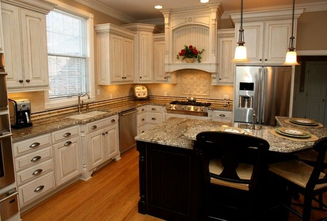 Image Result For Cream Kitchen Cabinets Black Appliances Kitchen Cabinets With Black Appliances Antique White Kitchen Home Kitchens