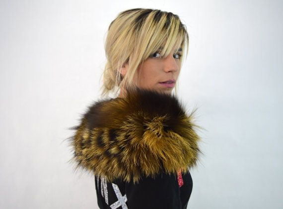 Real fur collar fox collar yellow and black fox fur by BeFur