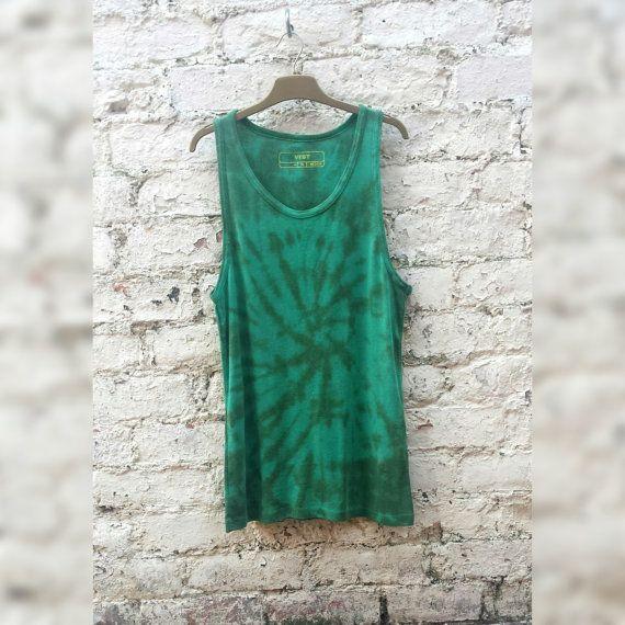 Mens Tank Top Tie Dye Vest size M Green Hippie Boho by AbiDashery