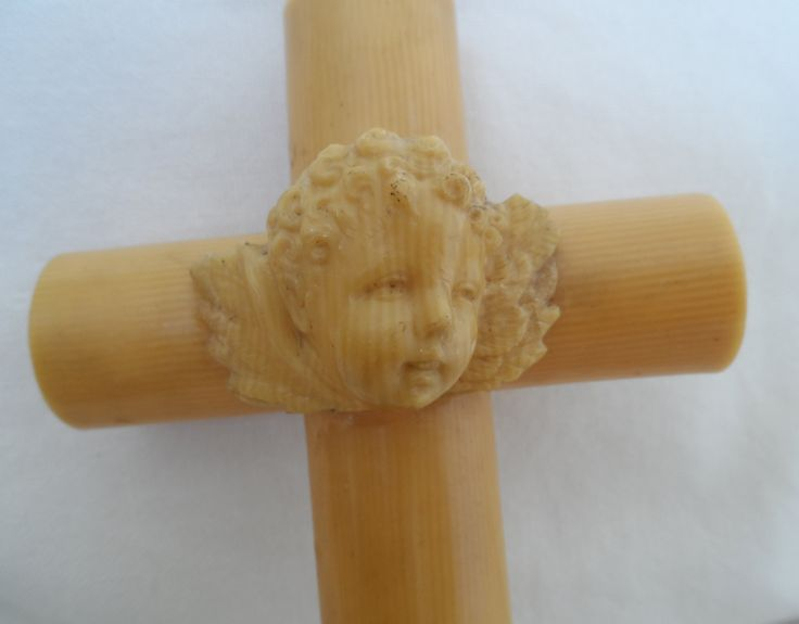 French 1920's very large celluloid crib cross  with angel/putti/cherub  Croix de berceau by vintagebouquets on Etsy