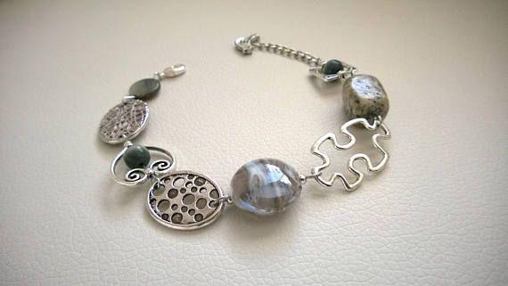 Asymmetrical bracelet Gray jewelry gray bracelet  Modern