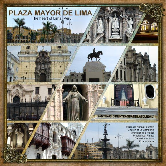 Travel page - Plaza Mayor de Lima - Scrapbook.com--might make a great layout for high adventures & campouts where lots of pics were taken.