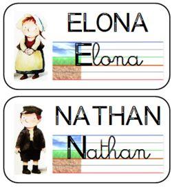étiquettes modèles des prénoms des élèves GS et CP