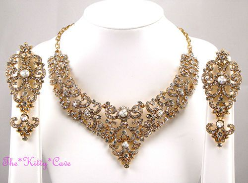 INDIAN HOLLYWOOD OPERA PROM COCKTAIL SCROLL GOLD GP CRYSTAL BRIDAL JEWELLERY SET